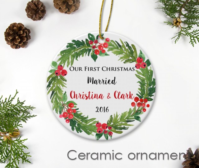 Our First Christmas Ceramic Ornament Married Newlywed Gift