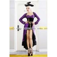ロングドレス紫海賊コスチューム 7675
