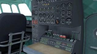 Der Arbeitsplatz des Flugingenieurs.