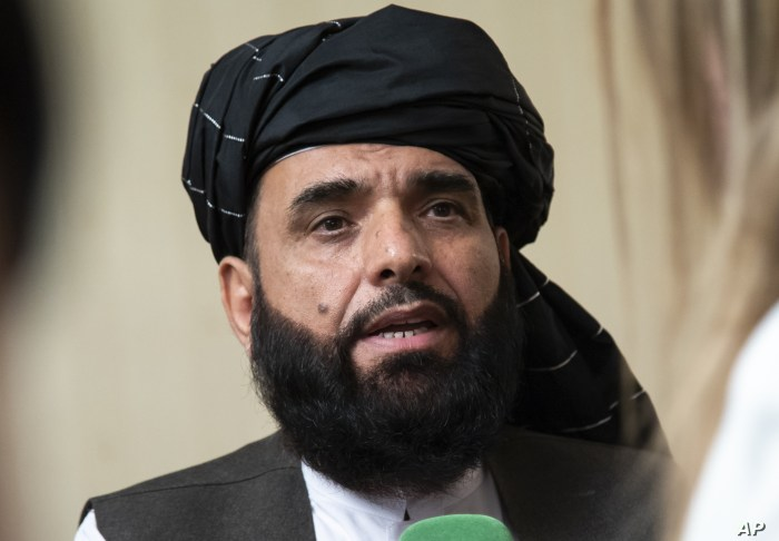 FILE - Suhail Shaheen, spokesman for the Taliban's political office in Doha, speaks to the media in Moscow, Russia, May 28, 2019.