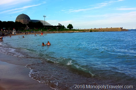 Enjoying the beach on Lake Michigan near Adler Planatarium