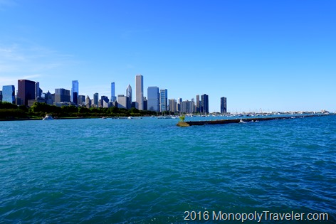 Chicago's lake front heading towards Navy Pier