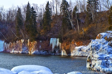 Icicles Adorning the Shoreline Cliffs