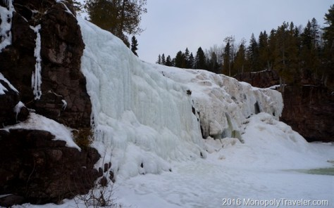 Waterfalls frozen in place