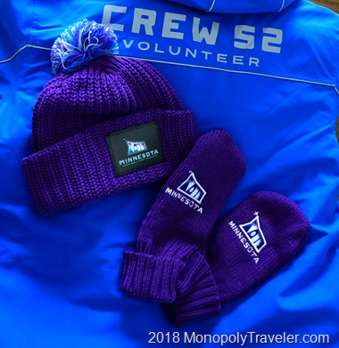 Crew 52 hat, mittens, and jacket