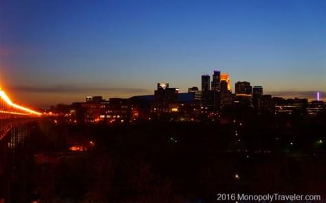 The setting sun behind Minneapolis