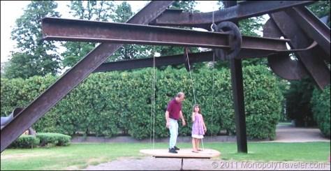 Enjoying One of the Sculptures at the Sculpture Garden