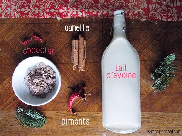 calendrier de l'avent 2015 par mon petit balcon jour 6 - chocolat chaud de noël végétarien - ingrédients