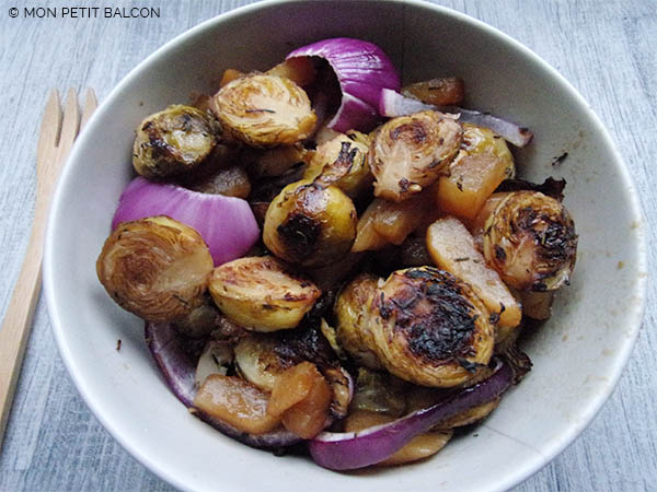 recette de Chou de Bruxelles rôtis aux lardons végétariens