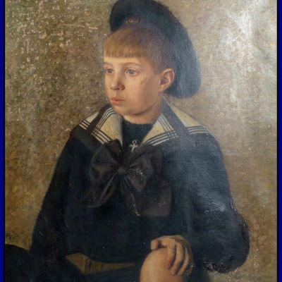 Enfant en costume marin. Ecole de peinture française vers 1880