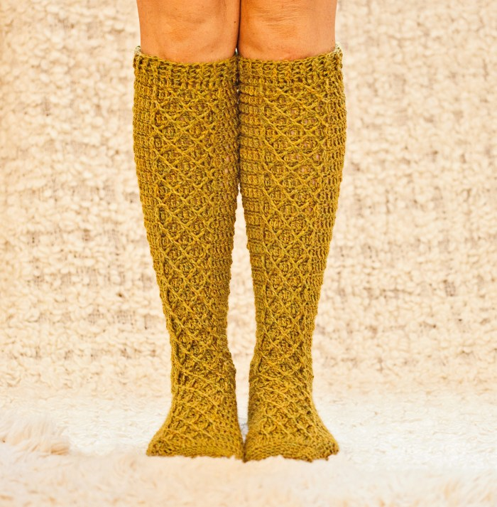 Knee High Diamond Socks, crochet pattern by Mon Petit Violon