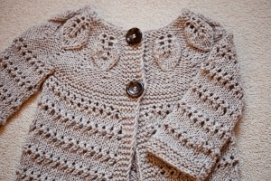 Knit Leaves Cardigan, pattern by Mon Petit Violon