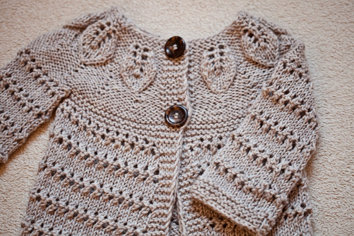 Knit Leaves Cardigan, pattern by Mon Petit Violon