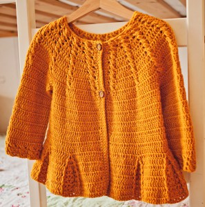 Cable Cardigan with Pleats, crochet pattern by Mon Petit Violon