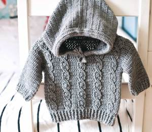 Favorite Cable Hoodie, crochet pattern by Mon Petit Violon