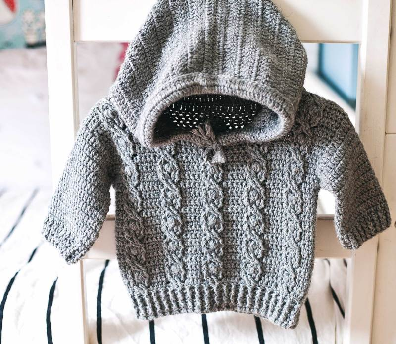 Favorite Cable Hoodie, crochet pattern by Mon Petit Violon