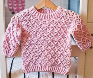 Lacy Rhomb Sweater, crochet pattern by Mon Petit Violon
