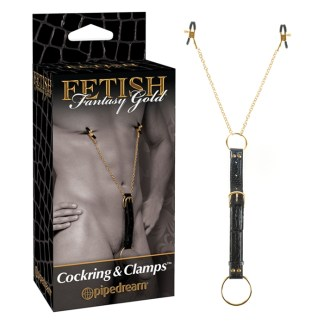 Cock Ring and Clamps - Pinces à mamelons avec Anneaux d'Érection - Fetish Fantasy Gold