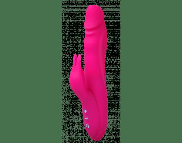 Le Booster Rabbit de FemmeFunn est un vibrateur en silicone pour une stimulation double et en plus il tourbillonne