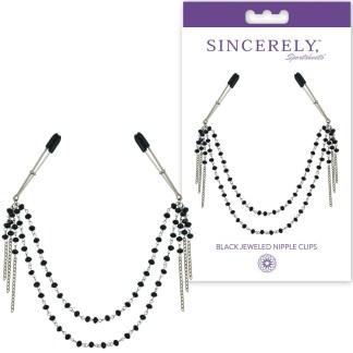 Black Jeweled Nipple Clips - Sincerely - Pinces à Mamelons avec Bijoux - Sporsheets
