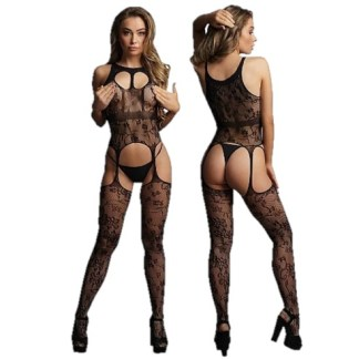 Lace Suspender Bodystocking with Round Neck - 046 - Le Désir