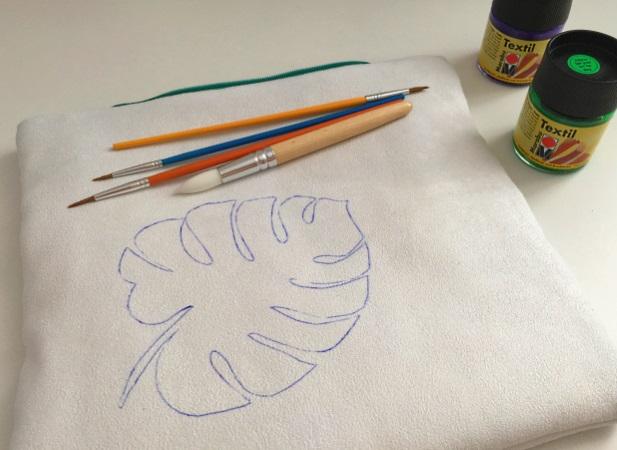 matériel de peinture pour motif de feuille de philodendron sur du tissu
