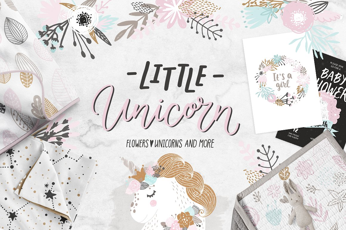 Little Unicorns and flowers