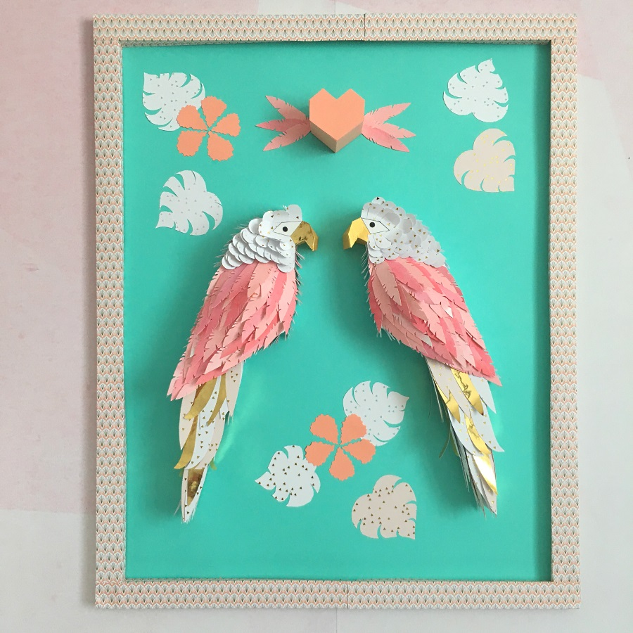Les perroquets amoureux - Déco en papercut