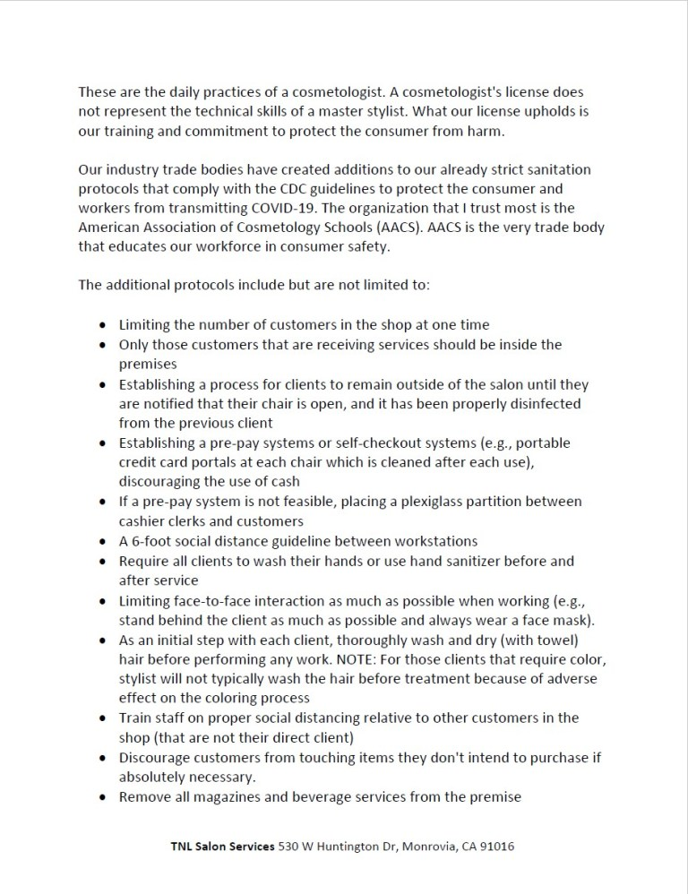 Safety Protocols letter 3