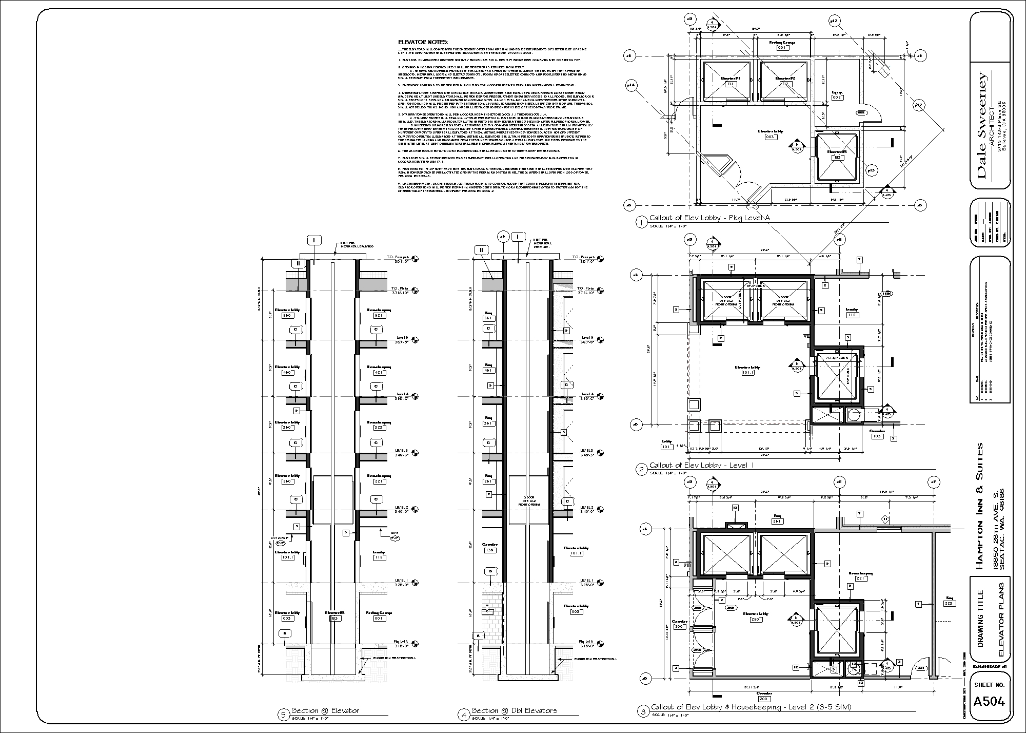 Autocad Elevator Plan