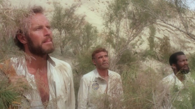 Taylor (Charlton Heston), Landon (Robert Gunner) et Dodge (Jeff Burton)