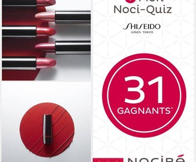 31 Rouges à lèvres SHISEIDO à gagner au jeu Noci-Quiz de Nocibé !