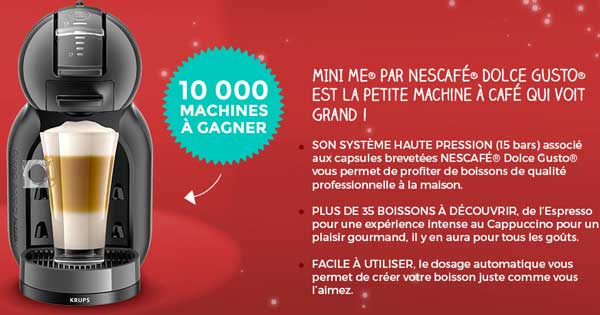 10000 machines NESCAFÉ Dolce Gusto MINI ME à gagner !