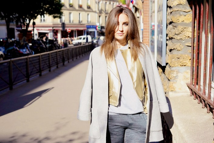 Layering is back ! Manteau kimono X perfecto doré