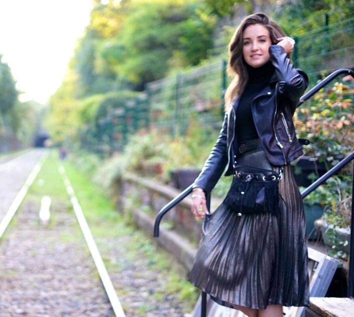 Sunday outfit : jupe plissée métallisée & perfecto