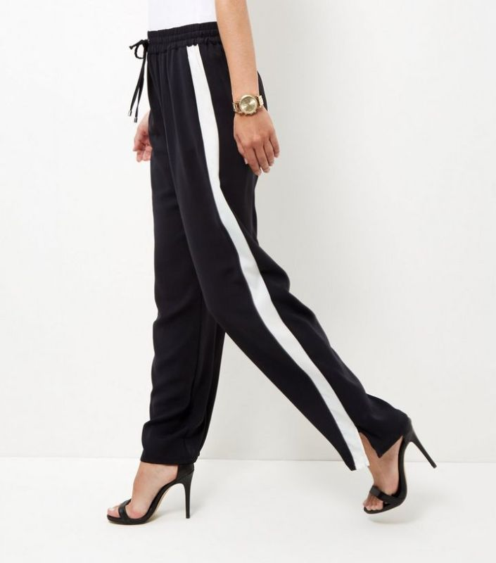 Pantalon large rayures New Look