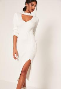 robe-mi-longue-blanc-crme-fendue-dcollet-dcoup