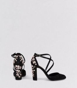 wide-fit---talons-noirs-en-suédine-à-fleurs-brodées