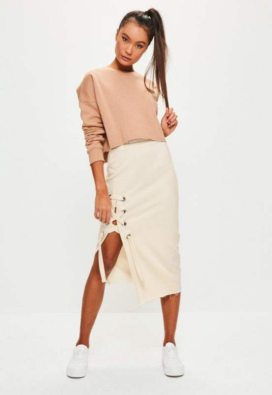 Jupe midi à lacets MissGuided