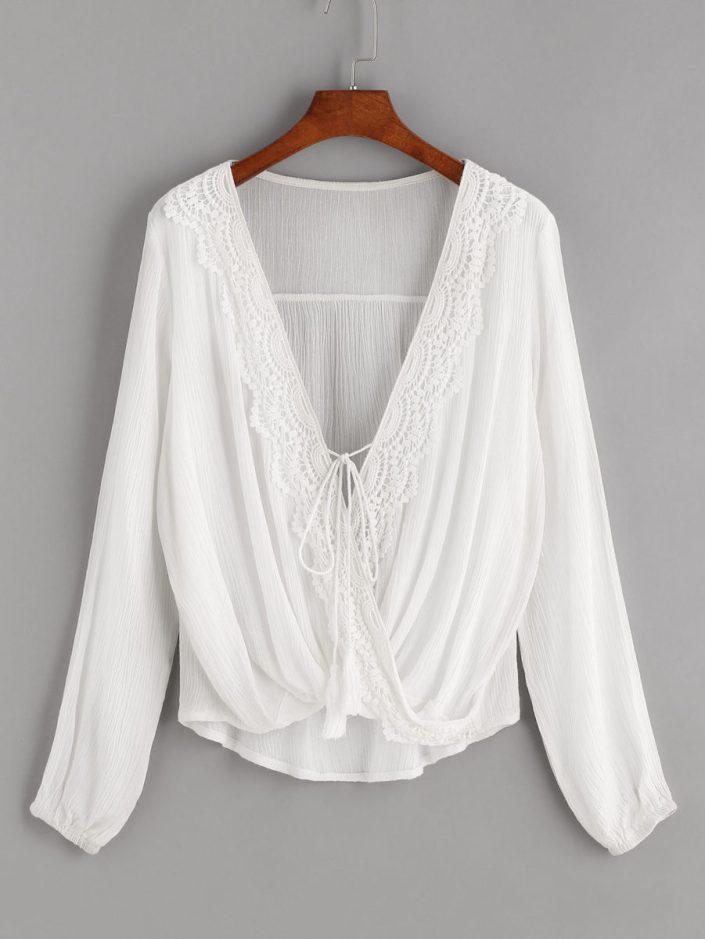 Blouse blanche crochet SHEIN
