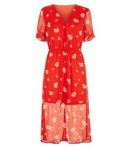 influence---robe-mi-longue-rouge-à-imprimé-floral-