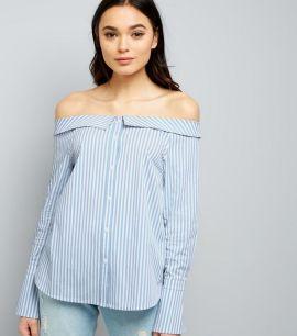 chemise-bleue-rayée-à-col-bardot