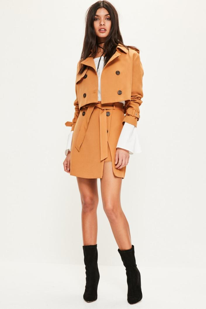 Veste courte style trench MissGuided
