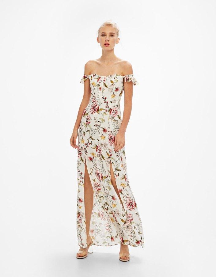 Robe épaules dénudées fleurs