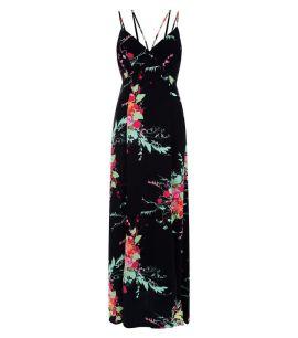 black-floral-print-maxi-dress