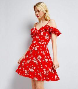 parisian---robe-rouge-à-imprimé-floral-et-volants-