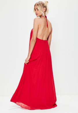 robe-longue-rouge-plisse