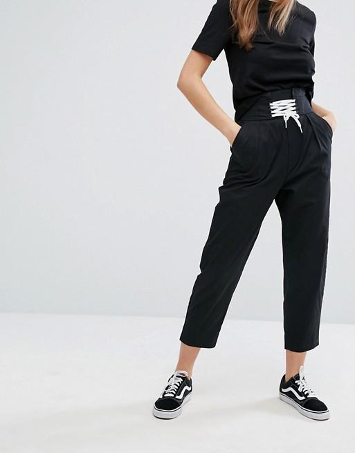 Pantalon taille haute à cordon