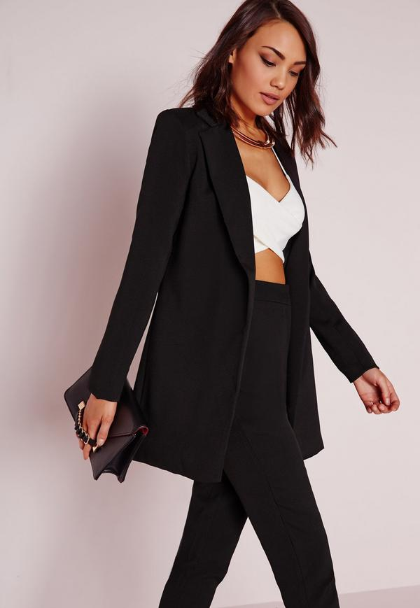 Long blazer noir