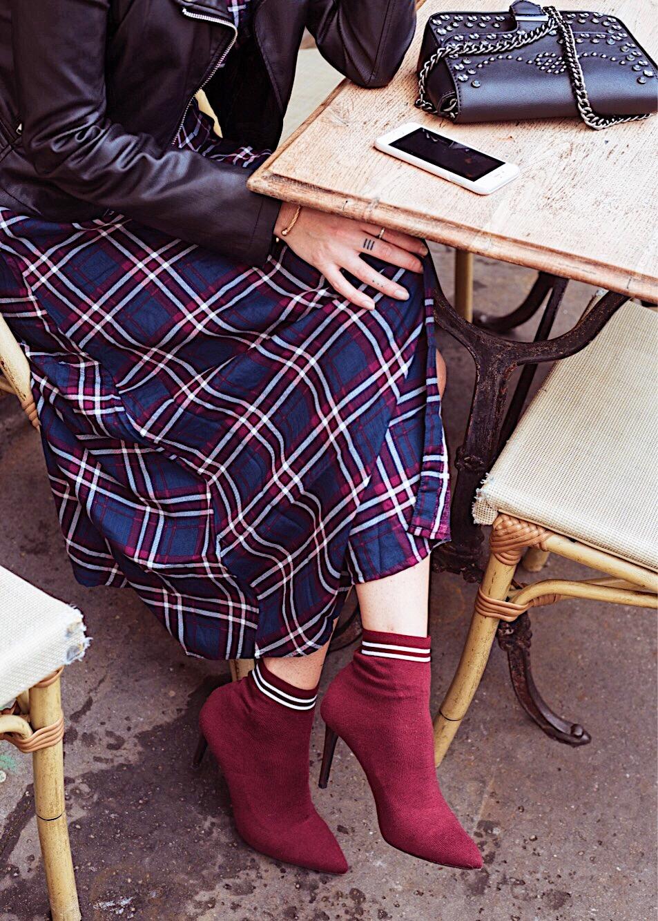 look-robe-chemise-carreaux-tendance-bottines-chaussette-adrien ganzer-lestendancesdelilou-magazine-monsieurmada.me-chemise à carreaux